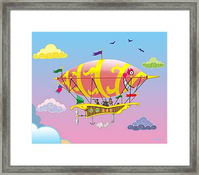 Framed Print featuring the mixed media Rainbow Steampunk Dreamship by J L Meadows