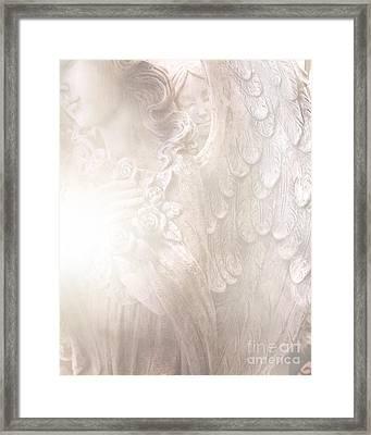 Dreamy Angel Art - Ethereal Spiritual Dream Angel Wings - Heavenly Angel Wings Framed Print by Kathy Fornal