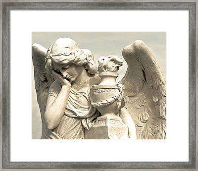 Dreamy Angel Photograph Golden Wings - Ethereal Peaceful Angel Art Framed Print by Kathy Fornal