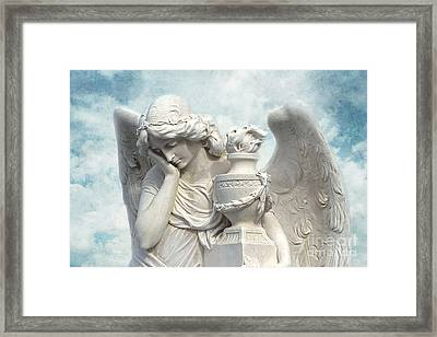 Dreamy Angel Photograph With White Wings Ethereal Blue Sky Dreamy Peaceful Angel Art  Framed Print by Kathy Fornal