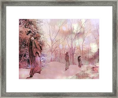 Dreamy Angel Surreal Ethereal Pink Woodlands With Angels And Statues Framed Print
