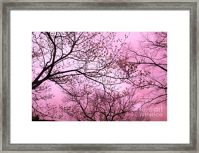 Dreamy Baby Pastel Pink Trees Nature - Shabby Chic Pink Nature Tree Art Framed Print