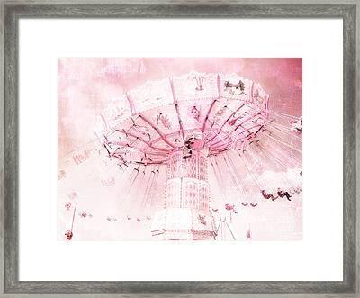 Dreamy Baby Pink Carnival Fair Ferris Wheel - Baby Girl Nursery Room Carnival Prints Framed Print by Kathy Fornal