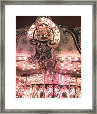 Dreamy Baby Pink Carnival Festival Merry Go Round Sparkling Lights Carnival Photos Framed Print by Kathy Fornal