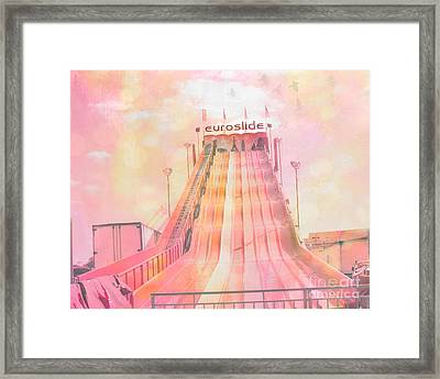 Dreamy Baby Pink Carnival Ride - Euroslide Framed Print by Kathy Fornal