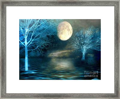 Dreamy Blue Moon Nature Trees - Surreal Full Blue Moon Nature Trees Fantasy Art Framed Print