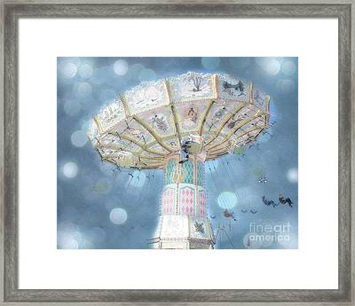 Dreamy Blue Surreal Carnival Festival Ferris Wheel Blue Bokeh - Baby Blue Dreamy Ferris Wheel Photo Framed Print by Kathy Fornal