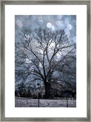 Dreamy Blue Surreal Fantasy Tree Nature Landscape - Slate Blue Tree With Bokeh Circles  Framed Print by Kathy Fornal