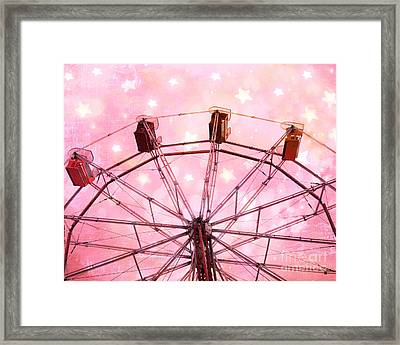 Dreamy Carnival Ferris Wheel Stars - Ferris Wheel Pink And White Fairytale Prints  Framed Print