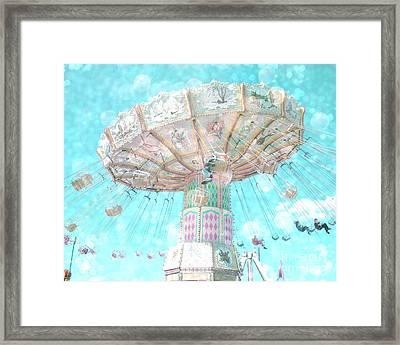 Dreamy Carnival Ferris Wheel Swing Ride Aqua Teal Blue Bokeh Circles Hearts Decor Framed Print by Kathy Fornal