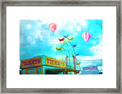 Dreamy Carnival Ferris Wheel Ticket Booth Hot Air Balloons Teal Aquamarine Blue Festival Fair Rides Framed Print by Kathy Fornal