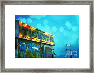 Dreamy Carnival Festival Ticket Booth Stand - Teal Aquamarine Blue Carnival Festival Fun Slide Photo Framed Print by Kathy Fornal
