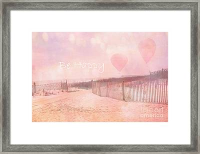 Dreamy Cottage Chic Summer Beach Typography Framed Print by Kathy Fornal