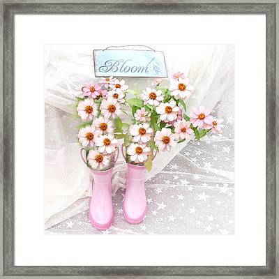 Dreamy Cottage Garden Art - Shabby Chic Pink Flowers Garden Bloom With Pink Rain Boots Framed Print by Kathy Fornal