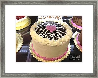 Dreamy Cottage Shabby Chic Pink And Yellow Cake Print - Valentine Hearts Romantic Cake Food Art Framed Print by Kathy Fornal