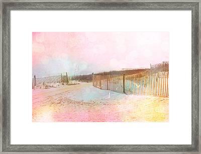 Dreamy Cottage Summer Beach Ocean Coastal Art Framed Print by Kathy Fornal