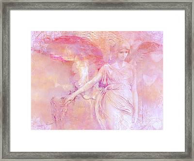 Dreamy Ethereal Angel Photography - Ethereal Pink Angel With White Hearts Framed Print