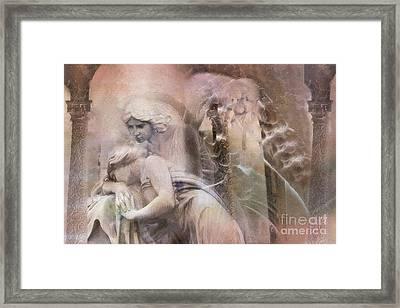 Dreamy Ethereal Sad Morning Angel Art - Spiritual Ghostly Angel Art Photos Framed Print by Kathy Fornal