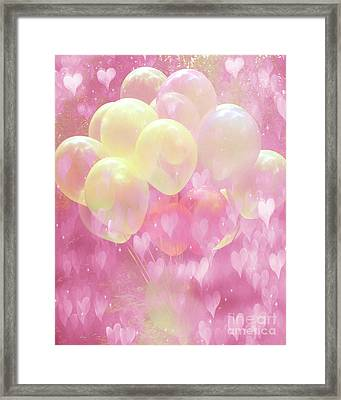 Dreamy Fantasy Whimsical Yellow Pink Balloons With Hearts  Framed Print by Kathy Fornal