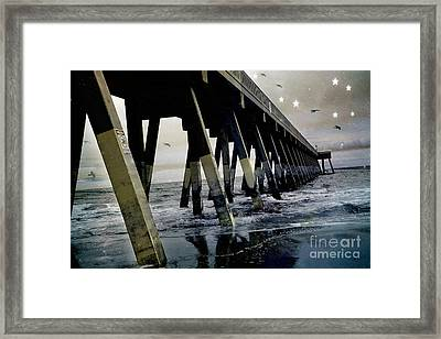 Dreamy Haunting Ocean Coastal Pier With Stars And Birds Framed Print by Kathy Fornal