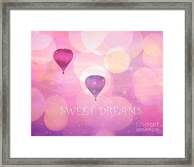 Dreamy Hot Air Balloons Whimsical Baby Child Nursery Room Art-inspirational Art-sweet Dreams Framed Print by Kathy Fornal