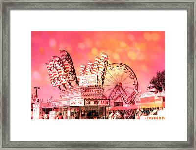Surreal Hot Pink Orange Carnival Festival Cotton Candy Stand Candy Apples Ferris Wheel Art Framed Print by Kathy Fornal