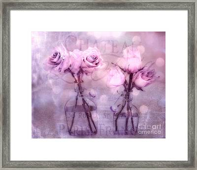Dreamy Impressionistic Lavender Pink And Purple Roses - French Inspired Pink Lavender Roses In Vase Framed Print by Kathy Fornal