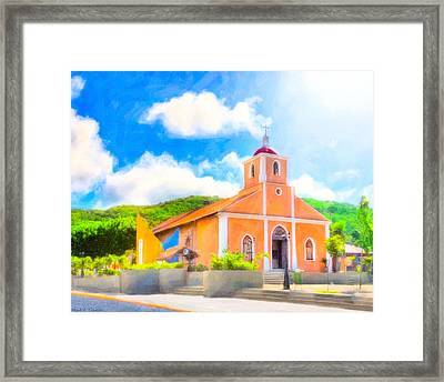 Dreamy Little Church In The Tropical Sun Framed Print by Mark E Tisdale