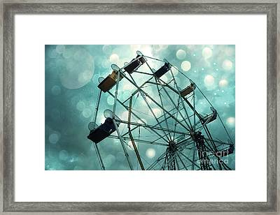 Dreamy Mint Green Teal Carnival Ferris Wheel With Moon And Bokeh Circles  Framed Print by Kathy Fornal