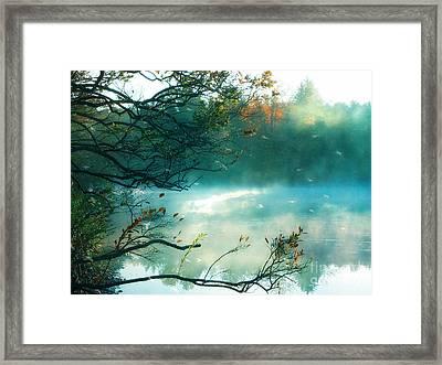 Dreamy Nature Aqua Teal Fog Pond Landscape Framed Print by Kathy Fornal