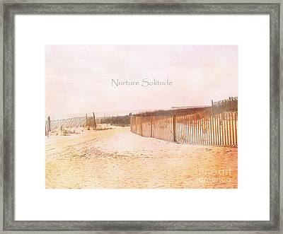 Dreamy Pale Cottage Summer Beach Typography  Framed Print by Kathy Fornal