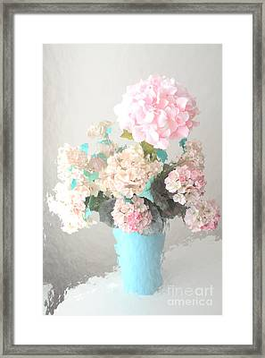 Shabby Chic Cottage Pink And Aqua Teal Impressionistic Shabby Chic Cottage Romantic Floral Bouquet  Framed Print by Kathy Fornal
