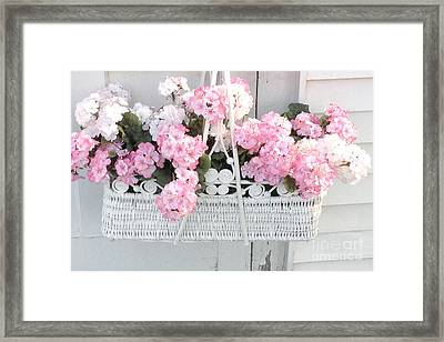 Dreamy Pink White Hydrangeas In Hanging Basket - Shabby Chic Cottage Hydrangea Romantic Flowers Framed Print by Kathy Fornal