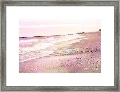 Dreamy Pink Beach Ocean Coastal Wrightsville Beach North Carolina Beach Ocean Art Framed Print by Kathy Fornal