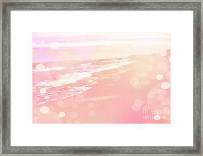 Dreamy Pink Beach Ocean Coastal Wrightsville Beach North Carolina - Surreal Pink Bokeh Ocean Waves Framed Print by Kathy Fornal