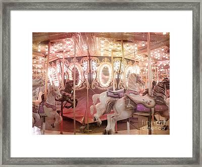Dreamy Pink Carnival Carousel Merry Go Round Horses Festival Carousel Horses Sparkling Lights Framed Print