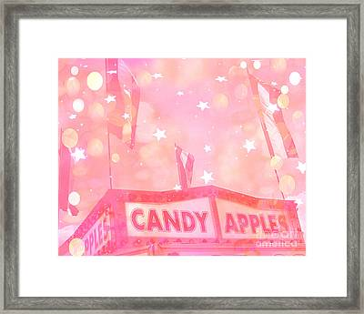 Dreamy Pink Carnival Festival Fair Candy Apples Stand With Stars And Circles  Framed Print by Kathy Fornal