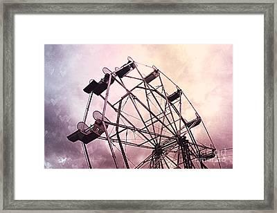 Dreamy Pink Lavender Baby Girl Nursery Ferris Wheel - Carnival Fair Ferris Wheel With Hearts Framed Print