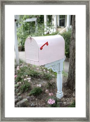Dreamy Pink Mailbox - Shabby Chic Cottage Chic Garden Pink Mailbox - Romantic Pink Mailbox Framed Print by Kathy Fornal