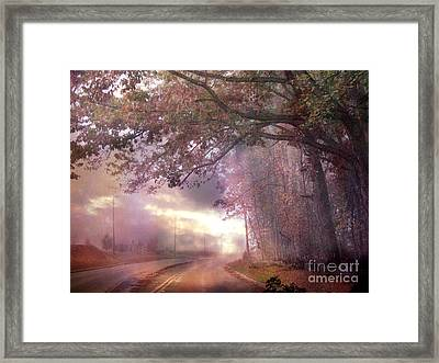 Dreamy Pink Nature Landscape - Surreal Foggy Scenic Drive Nature Tree Landscape  Framed Print by Kathy Fornal