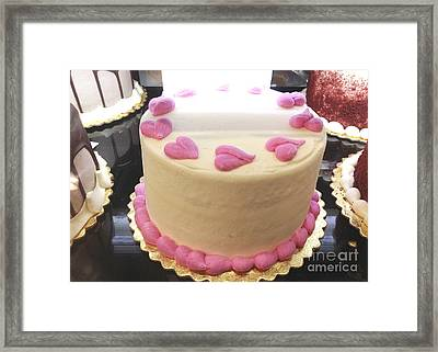 Dreamy Pink Hearts Romantic Cake - Valentine Cake Romantic Food Photography  Framed Print by Kathy Fornal