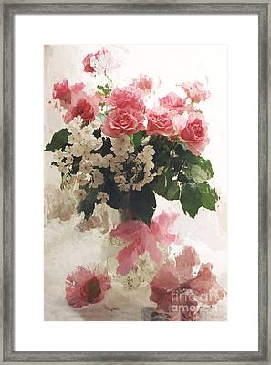 impressionistic Watercolor Roses in Vintage Antique Vase - Pink and White Vintage Roses Framed Print