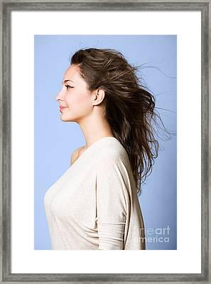 Dreamy Profile Portrait. Framed Print by Alstair Thane
