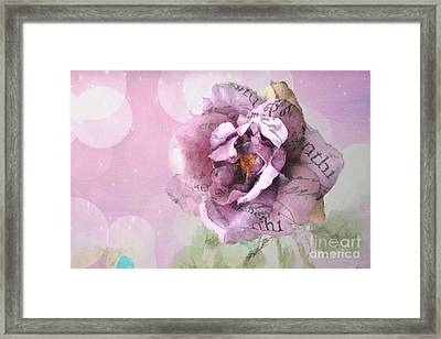 Dreamy Purple Impressionistic Romantic Shabby Chic Cottage Purple And Pink Ethereal Floral Art Framed Print by Kathy Fornal