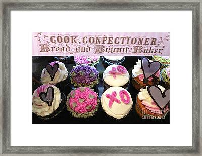 Dreamy Romantic Cupcake Food Photography - Cupcake Desserts Valentines Day Framed Print by Kathy Fornal
