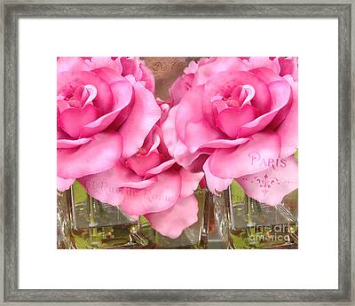 Dreamy Romantic Pink Roses Cottage Garden Shabby Chic Paris Roses  Framed Print by Kathy Fornal