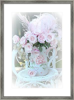Dreamy Romantic Pink Bouquet Of Baby Pink Roses On White Chair Cottage Garden Art Framed Print by Kathy Fornal