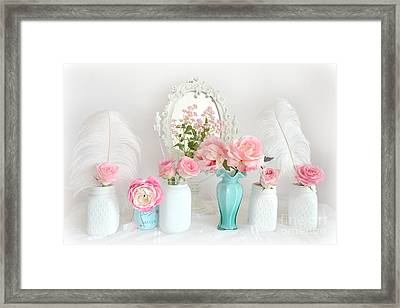 Dreamy Romantic Shabby Chic Pink White Floral Decor - Romantic Shabby Chic Flower Prints  Framed Print