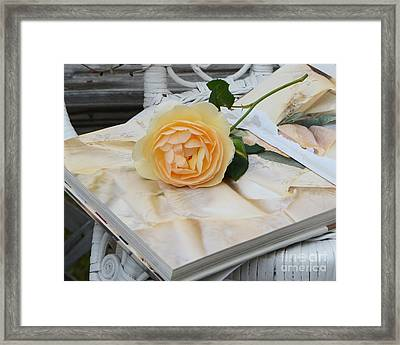 Dreamy Romantic Yellow Rose On French Book - Shabby Chic Yellow Rose Decor Framed Print