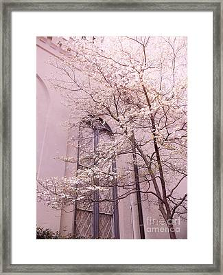 Dreamy Savannah Church Window Pink Trees  Framed Print by Kathy Fornal